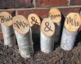 White Birch Log Wedding Decor | Mr and Mrs | Bride and Groom