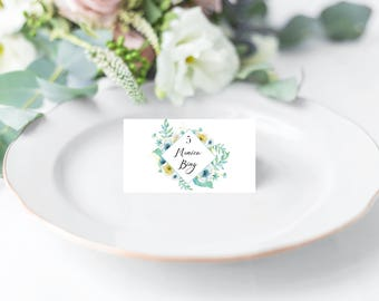 Mint and Gold Floral Place Card
