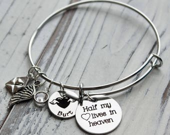 Half My Heart Lives in Heaven Personalized Adjustable Wire Bangle Bracelet