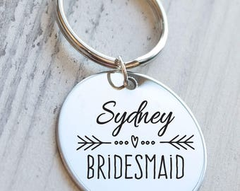Bridesmaid Personalized Key Chain - Engraved