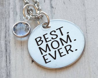 Best Mom Ever Personalized Engraved Necklace
