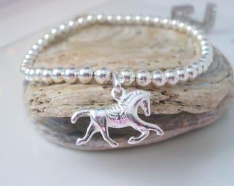 Silver Bead Bracelet, Horse Lovers Gift, Stretch Bracelet, Sterling Silver, Equestrian, Girls Gift, Horse Charm, Handmade, Gift for Women