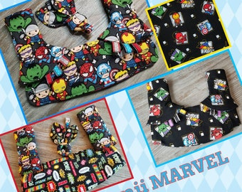 3-PC Ergo 360 or Lillebaby Headrest bib/Straight pads set. Curved Pads upgrade available.  Kawaii Marvel/superhero.
