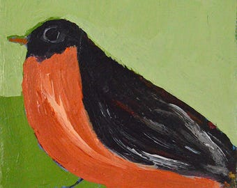 Robin Bird Painting. Acrylic Painting. Animal Portrait Art Painting. Wildlife Wall Art. No 47