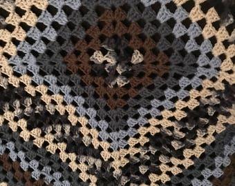 Crochet Throw; Crochet Afghan; Granny Square Blanket; Crochet Blue Blanket
