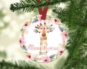 Girl's Christmas ornament.Baby Giraffe.Christmas ornament.Personalized christmas ornament.Baby's first Christmas.