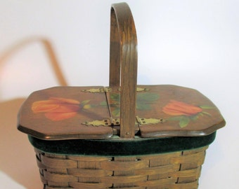 Vintage, Basket-Weave Wicker Purse/Basket with Roses