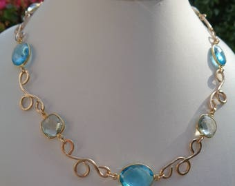 Gold chain with green amethyst, Blue Topaz, 585 gold filled and freestyle elements