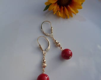Gold earrings with coral, 585 gold filled