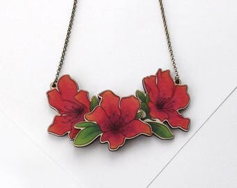 Laser Cut Azalea Rhododendron Floral Statement Necklace, an illustrated layered wood necklace - Garden Plant Flower Botanical Jewellery