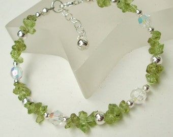 Beaded Peridot bracelet Sterling Silver August Birthstone green Peridot gemstone bracelet & Swarovski crystal, genuine Peridot jewellery