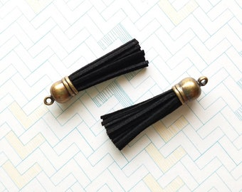 Tassels - 58mm Long Tassels - 10 Black Tassels with Bronze Cap - Purse Tassel Pendant - Key Chain Tassel - Tassels for Jewelry - TL-B002