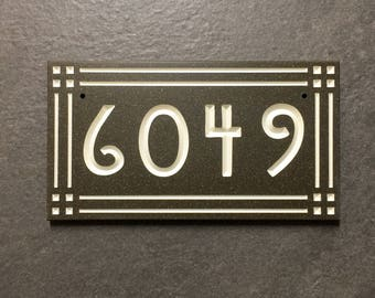 2 number craftsman mission style bungalow address plaque house for Bungalow house numbers