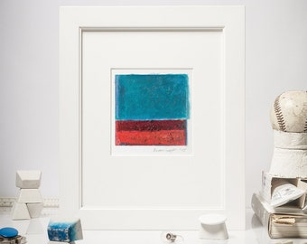 """4x4'' Original Abstract Painting, Oil Painting on Canvas, Blue, Red, Maroon, Small Painting, Modern Home, Square Wall Art, Matted 10x10"""""""
