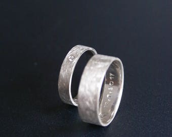 Partner-rings set: band ring + band ring with cubic zirconia (925 Silver)
