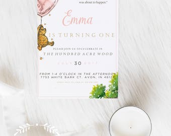 Winnie The Pooh Invitation, Winnie The Pooh Party, Birthday Invitation, Baby Shower, Invitation, Winnie The Pooh, Classic Winnie The Pooh