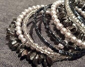 Hematite gray pearl bracelet
