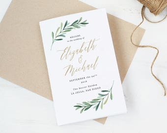 Greenery Wedding Programs Template • Printable Wedding Folded Program • Garden Rustic Theme • Editable in Word/Pages • MAC/PC