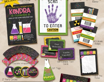 Science Party Invitation & Printable Decorations. Invitation included. Everything you need!