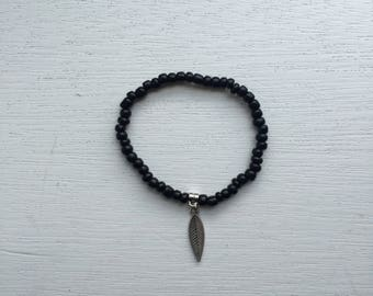 Black Beaded Leaf Bracelet