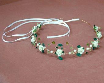 Rose gold wedding headpiece, emerald green crystal bridal tiara, ivory rose circlet, pearl flower crown, freshwater pearl tiara, leaf halo