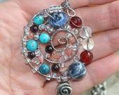 Life Force Vitality Necklace (415p): Handmade Jewelry, Aura Necklace, Turquoise, Sodalite, Carnelian, Sunstone, Clear Quartz, Garnet