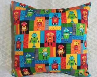 Robot pillow, kid's pillow, children's room, nursery room, bedroom decor, colorful pillow, robot pattern, robot print, children's pillow