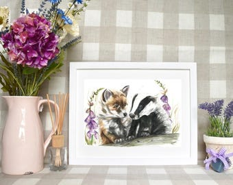 Limited edition 'Fox and badger' print