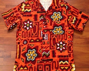 70's Cal Surf - Made in California'Hawaiian' Surf Shirt - Fits like M/L