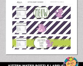 Kitten Baby Shower Water Bottle Labels/Wraps- DIY Water Bottle Labels *INSTANT DOWNLOAD*
