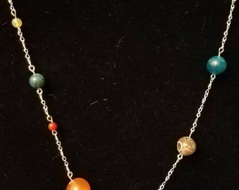 Single strand solar system necklace in silver