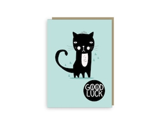 Good Luck Black Cat Card - Cat Illustration - Cat Card - Goodluck - Black Cat