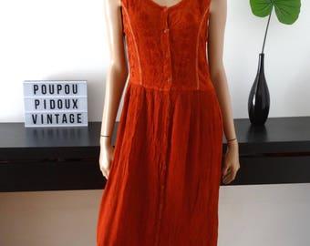 robe longue vintage KANDJI hippie folk bohème broderies orange taille M/L