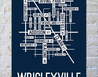Wrigleyville, Chicago Street Map Print - Chicago Neighborhood Map