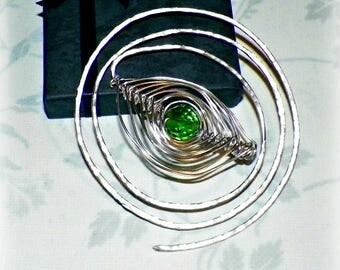 Spiral Shawl Pin Green Silver Brooch Beaded Vintage Hammered  Style Scarf Pin  Pin Outlander