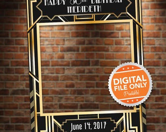 Black and Gold Art Deco Photo Booth. Party Prop Frame. Digital File only