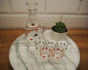 Vintage Shot Glasses and Decanter with Playing Cards suits  / Hearts, Spades, Clubs, Diamonds