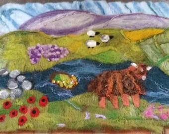 needle felted art, needle felt picture, felted landscape