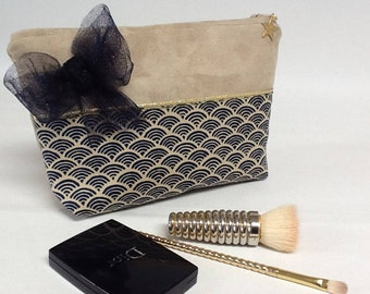 Make-up Japanese spirit with bow/suede makeup bag and bow/pouch gold/jewelry pouch/Japanese fabric