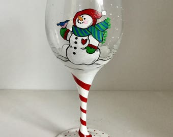 Hand Painted Snowman with Bird Wine Glass