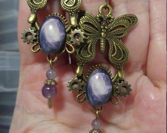 Butterfly & the Galaxy Steampunk Inspired earrings