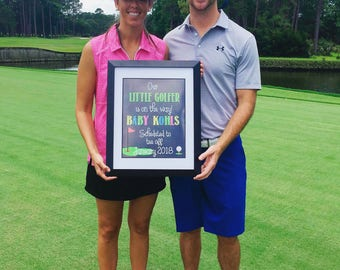 PRINTABLE Our Little Golfer Is On The Way! Chalkboard Pregnancy Baby Announcement Reveal Golfing Photo Prop / Sign / Card Facebook JPEG file