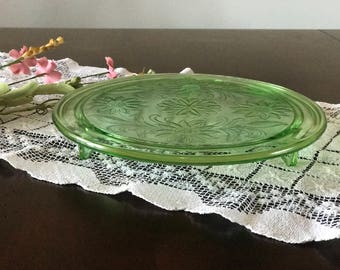 Green Glass Footed Cake Plate