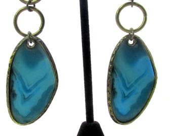 Vintage Faux Turquoise Molded Inlayed Dangle Earrings