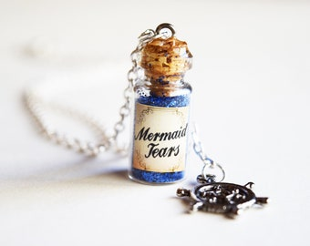 Mermaid Tears Bottle Necklace with Nautical Charm
