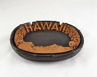 Tiki Bar  Ashtray Dish - Lava Wood Hawaii -  - Bold Contrasting Black and Brown - Hawaii Souvenir