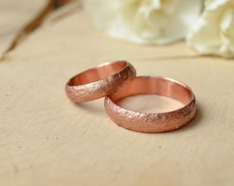 Alternative Wedding ring, Copper anniversary gift, Rustic style rings set, Rock immitation texture, unusual thin ring, Brutal men band