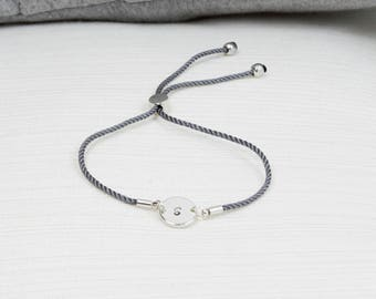 Silver Initial Bracelet, Cord Bracelet , Personalised Disc Bracelet, Initial Bracelet, Stacking Bracelet, Dainty bracelet