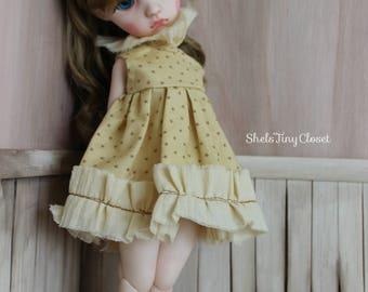 Dress For Imda 3.0 - Handmade, Imda dress, Soom Imda, Imda bjd, yosd dress, Imda doll, tattered dress, star print, shabby chic