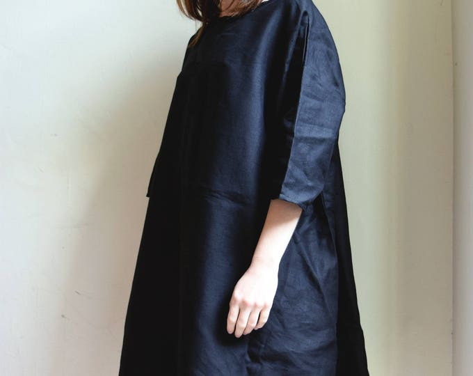 Comey Black Linen Dress |  Oversized   | Print Optional